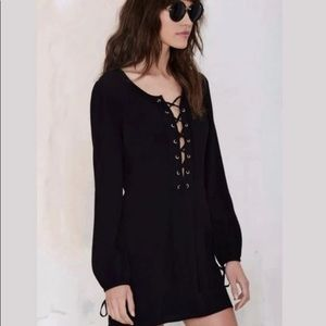 Black Kendall and Kylie Lace Up Mini Dress